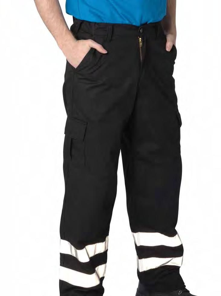 RK118 Deluxe Workwear Cargo Pants with High Viz Band Weight 240/260gsm 65% Polyester / 35% Cotton Concealed YKK zip fly with