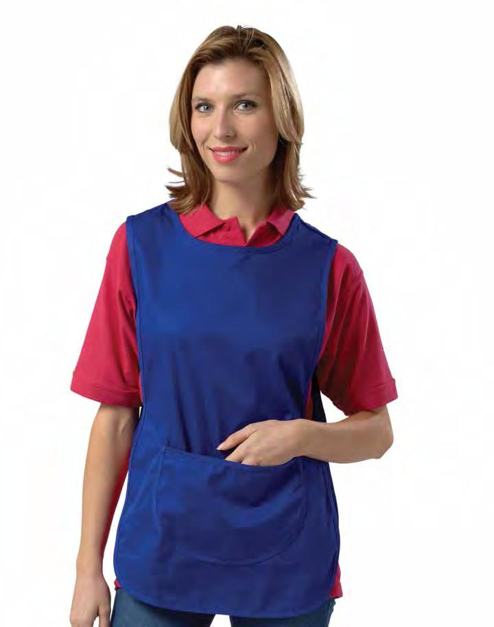 RK100 Pocket Tabard Weight 195gsm 65% Polyester / 35% Cotton large pouch pocket Adjustable stud side tabs Self fabric bound trim Teflon coated length 26