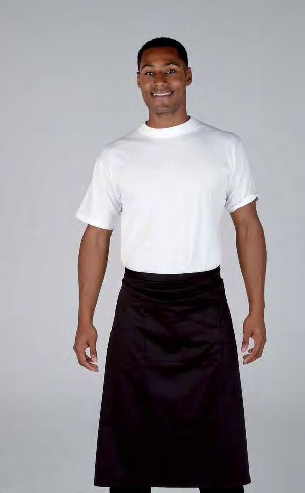 RK103 Long Bar Waist Apron Weight 195gsm 65% Polyester / 35% Cotton Long bar waist apron Two open