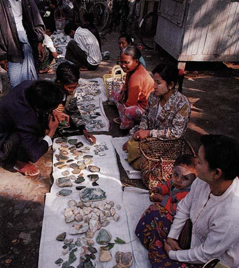 They obtained a sample for study. JADEITE TRADING IN MYANMAR Contributing to the aura of mystery that surrounds jadeite is the distinctive system of jadeite commerce in Myanmar.