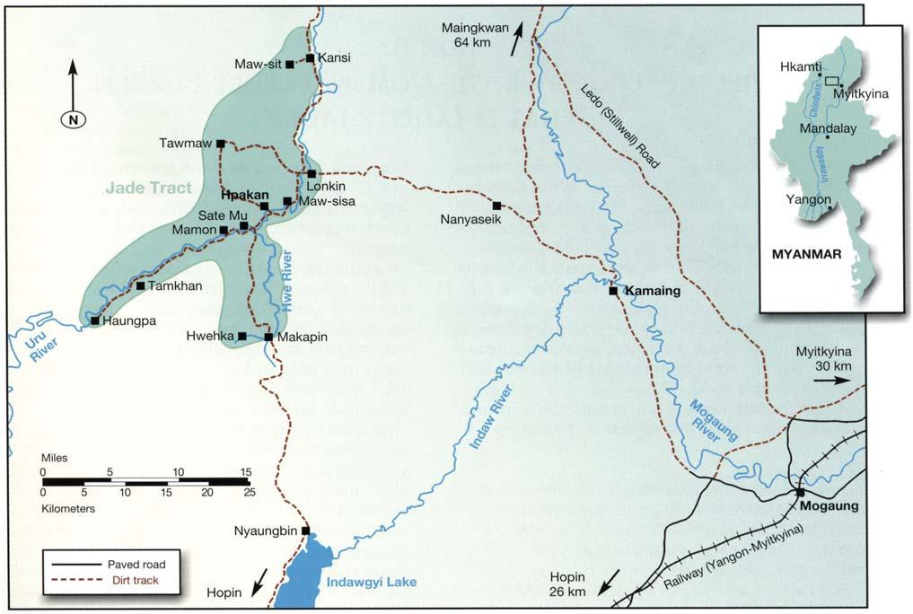 Figure 2. Hpakan is the center of the jadeite mining district (or central Jade Tract) in north-central Myanmar.