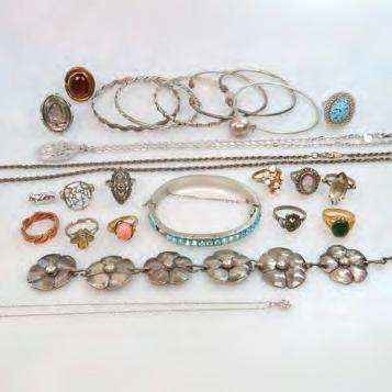 SILVER AND COSTUME JEWELLEY including a fine 14k white gold chain; silver bangles;
