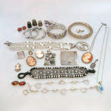 37 QUANTITY OF VARIOUS SILVER JEWELLERY including bracelets with faux pearls, marked
