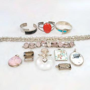 VARIOUS SILVER JEWELLERY including a silver and moonstone necklace; pendants, bracelets
