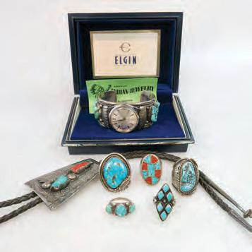 $150 200 41 SMALL QUANTITY OF NAVAJO SILVER JEWELLERY AND WATCHES including 5 rings set