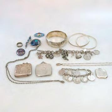 43 SMALL QUANTITY OF SILVER JEWELLERY, ETC including a charm bracelet; 3 bangles; 2