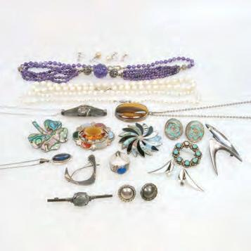 200 48 SMALL QUANTITY OF VARIOUS SILVER JEWELLERY AND PEARLS including a Los Ballestros