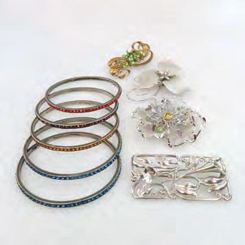 SILVER JEWELLERY including 4 Bond Boyd brooches and 5 bangles, all set with synthetic stones