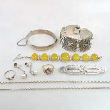 JEWELLERY including a German sterling silver bracelet; a Forstner Sterling silver hinged