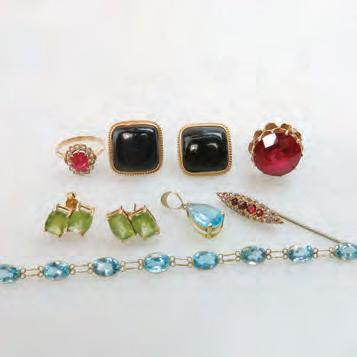 79 SMALL QUANTITY OF GOLD JEWELLERY including 14k gold and blue topaz bracelet and pendant;
