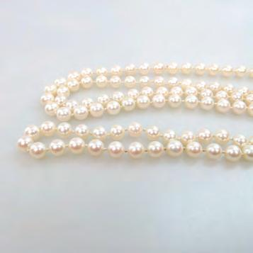 133 SINGLE ENDLESS STRAND OF CULTURED PEARLS 6.5mm length 36 in 91.