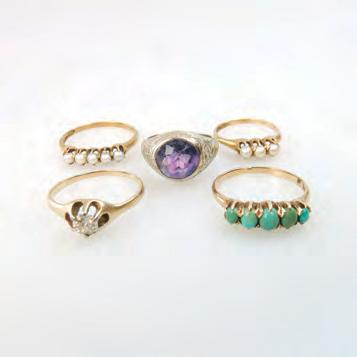 241 5 X 14K YELLOW GOLD RINGS set with pearls, turquoise, an amethyst, and a small old mine