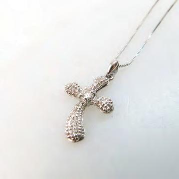 265 14K WHITE GOLD CROSS PENDANT set with 14 small diamonds, and suspended on an Italian 14k white gold chain length 18 in