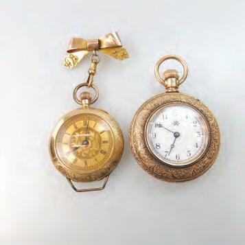 362 SWISS TRANSITIONAL STEM WIND POCKET/PENDANT WATCH 34mm; cylinder escapement; engraved silver gilt dial; in a 14k yellow gold case; suspended on an English
