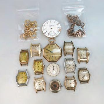 WATCHES AND WATCH PARTS including a Tavannes pocket watch in a goldfilled case; wristwatches by Bulova, Gruen