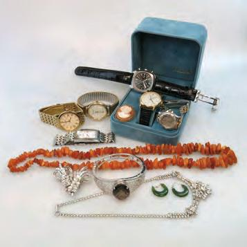 QUANTITY OF COSTUME JEWELLERY, ETC including watches; a Dunhill lighter; lapel pins; etc $100 200 17 QUANTITY