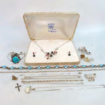 $150 200 24 SMALL QUANTITY OF SILVER AND COSTUME JEWELLERY including a silver Bond Boyd