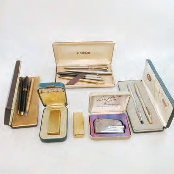 25 SMALL QUANTITY OF PEN AND LIGHTERS including 4 Cross pens; 6 Parker pens; a