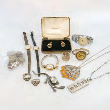 COINS including silver chains and pendants; silver rings; a Tissot Camping