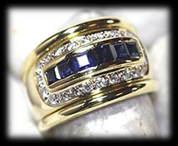 72 18 carat yellow polished gold diamond and sapphire RING of modern broad design. Set in channel setting 6 square cut blue stones.