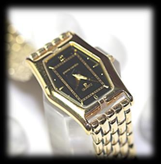 Rectangular face, gold dial with stick Roman, Quartz watch.