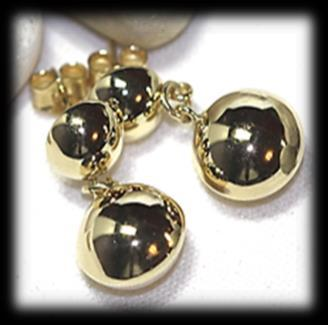 ball EARRINGS, 14mm. Pin attached. Mass: 2.13 gram.