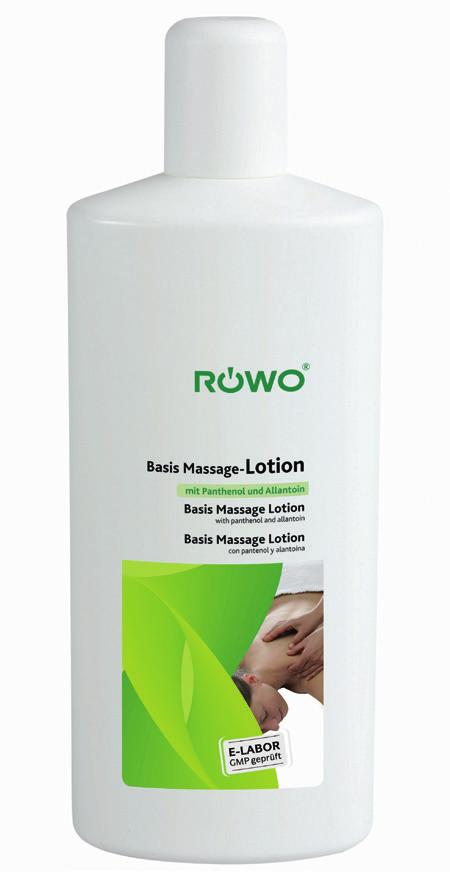Rowo Basis Massage Lotion Rowo Basis Massage-Lotion reduces friction during massage. It has good grip and contact properties and protects the skin of the patient as well as the therapist.