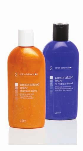 mixing personalised color shampoo and color rehydrator blends specially designed color defence bottles are used to mix the perfect blend of color depositing shampoos and color rehydrators.