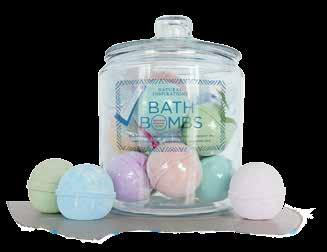 "Holds 12 bath bombs. One-gallon glass jar with lid measures 10""h x 7""w x 7""d."