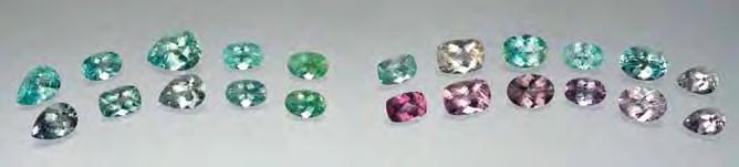 Figure 24. These faceted Cu-bearing tourmalines (0.42 0.85 ct) were carefully selected to show typical colors before (bottom row) and after (top row) heat treatment.