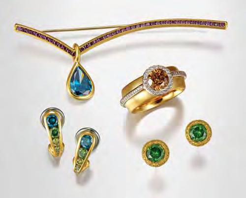 Figure 1. Once rarely-seen collectors items, colored diamonds are now widely available as a result of a variety of treatments that can change off-color stones to attractive hues.
