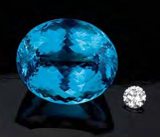 Figure 3. At 88.07 ct, this is the largest faceted neon blue Paraíba-type tourmaline from Mozambique that the authors have seen (heated stone, courtesy of Mozambique Gems).
