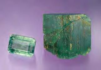 Typical pockets at the North American Emerald mine in North Carolina consist of an upper massive quartz portion, a central open cavity lined with various well-formed crystals (including emeralds),