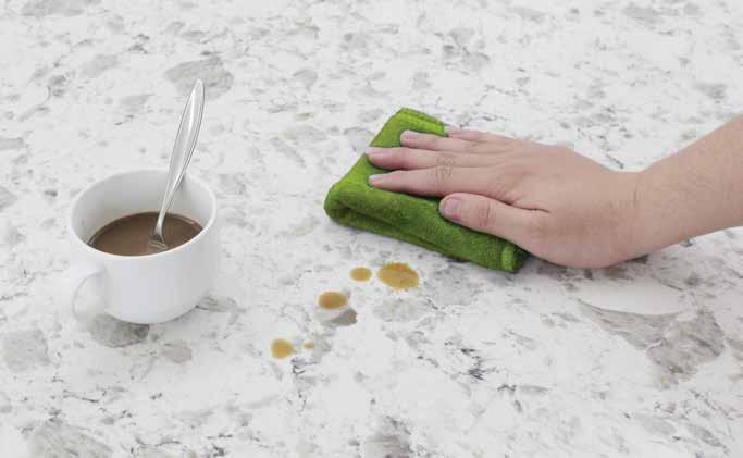 If accidentally, any of these come into contact with VICOSTONE Quartz Surfaces, immediately wipe the area with any commonly available multi-purpose cleaner or mild detergent, then rinse