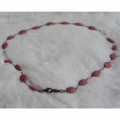 0315 necklaces & pendants Rhodonite (oval), rose