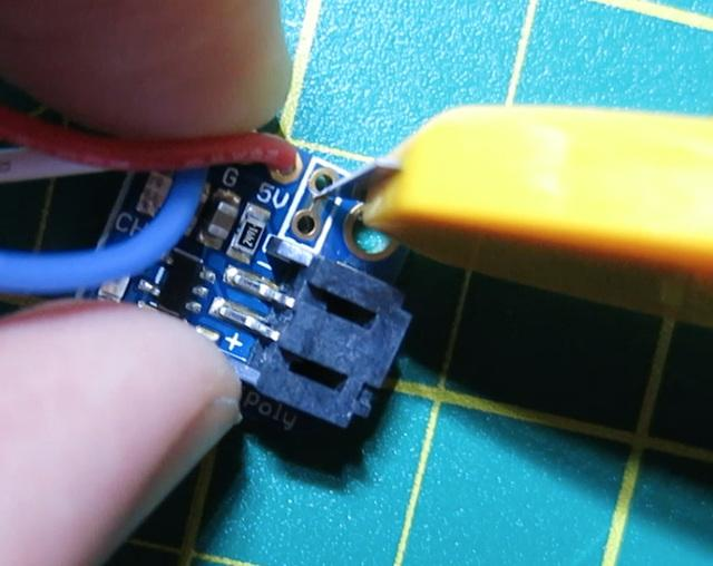 Solder in two wires for the switch.