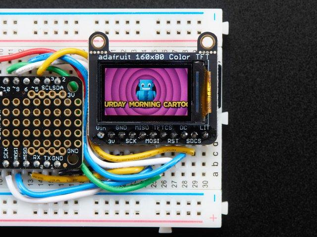 "Adafruit 0.96"" 160x80 Color TFT Display w/ MicroSD Card Breakout $19."