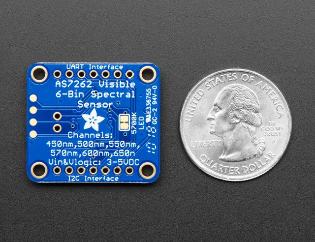 This breakout uses the I2C interface on the chip by default, but a UART interface that