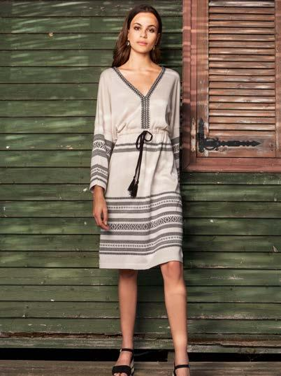 S18014 TASSEL TIE DRESS WITH JACQUARD TRIM $78 wholesale / $169 sugg.