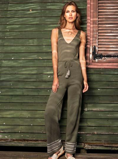 S18024 JUMPSUIT WITH JACQUARD TRIM $73 wholesale / $159 sugg.