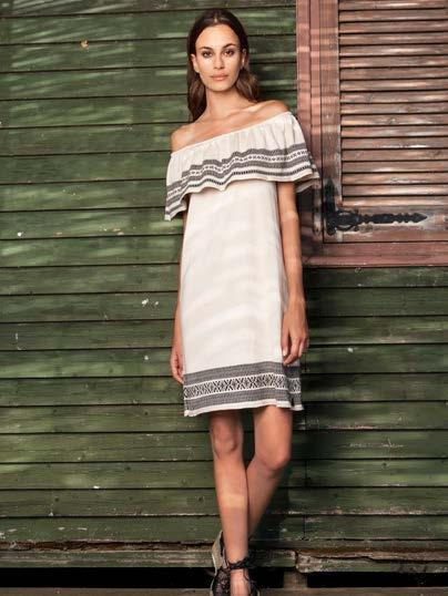 S18026 OFF THE SHOULDER DRESS WITH JACQUARD TRIM $73