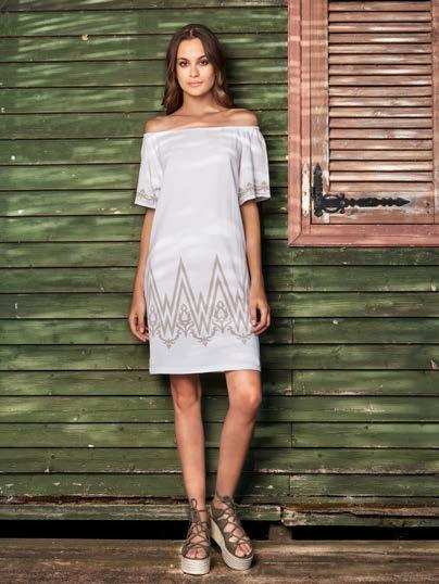 28 S18045 OFF THE SHOULDER DRESS WITH JACQUARD DETAILS $73 wholesale / $159