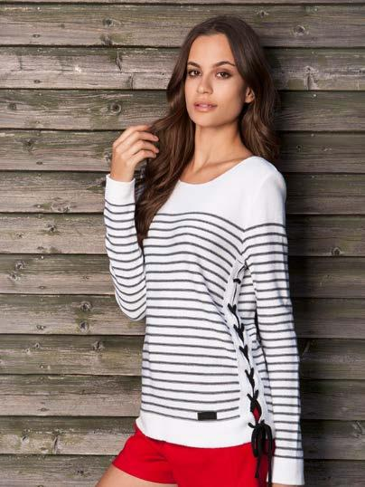 S18000 STRIPED SWEATER WITH SIDE LACING $49 wholesale /