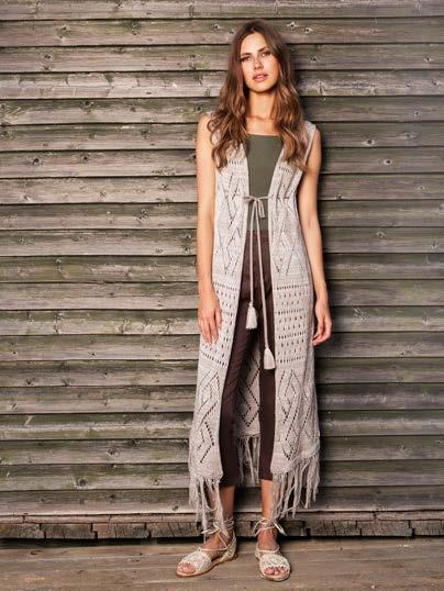 Khaki(20) w/gold(24) belt, S18054 BOHO CARDIGAN WITH A TASSEL