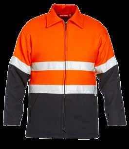 jackets two welt pocket internal pocket Y06554 FOUNDATIONS HI-VISIBILITY TWO TONE BLUEY JACKET WITH 3M TAPE 450gsm, 90% wool, 10% polyester outer & 100% cotton lining 3M 8910 50mm