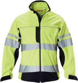 TWO TONE SOFT SHELL JACKET WITH STRETCH TAPE 300gsm, 100% bonded polyester & jersey face polar fleece back Shower & wind proof Stretchable reflective tape with reflective piping trim Two