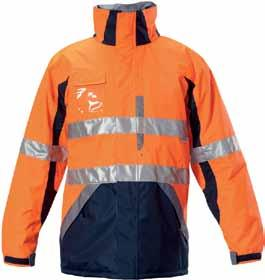 adjustable velcro cuffs Front storm flap & HOOD chin guard ID POCKET left chest pocket with pencil partition UNDERARM VENTS internal quilted pocket Y06537 ENGINEERED HI-VISIBILITY TWO TONE WET