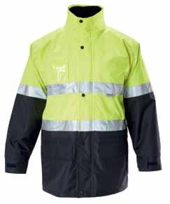 jackets hardened three piece peaked HOOD ID pocket two way pockets Y06057 ENGINEERED 4 in 1 Two Tone Wet Weather Jacket with 3M 8912 Tape* 190gsm polyester oxford weave with PU coating, Vest: 190gsm