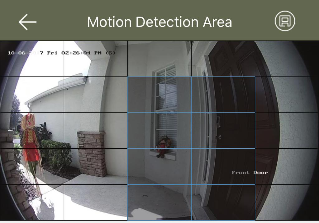 Follow the below steps to adjust the motion detection area of the doorbell.