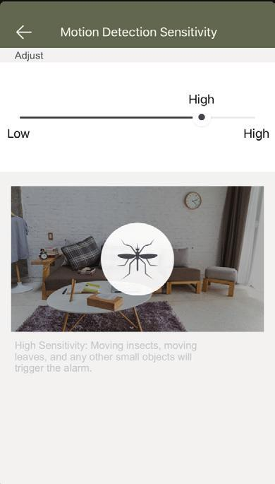 Then tap Motion Detection Sensitivity and select your desired